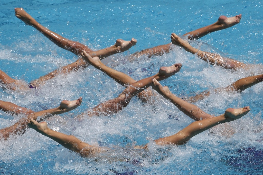 Ukraine's team performs its freestyle routine during the Synchronized Swimming Olympic Games Qualification Tournament at the Maria Lenk Aquatics Center in Rio. AP Photo/Felipe Dana