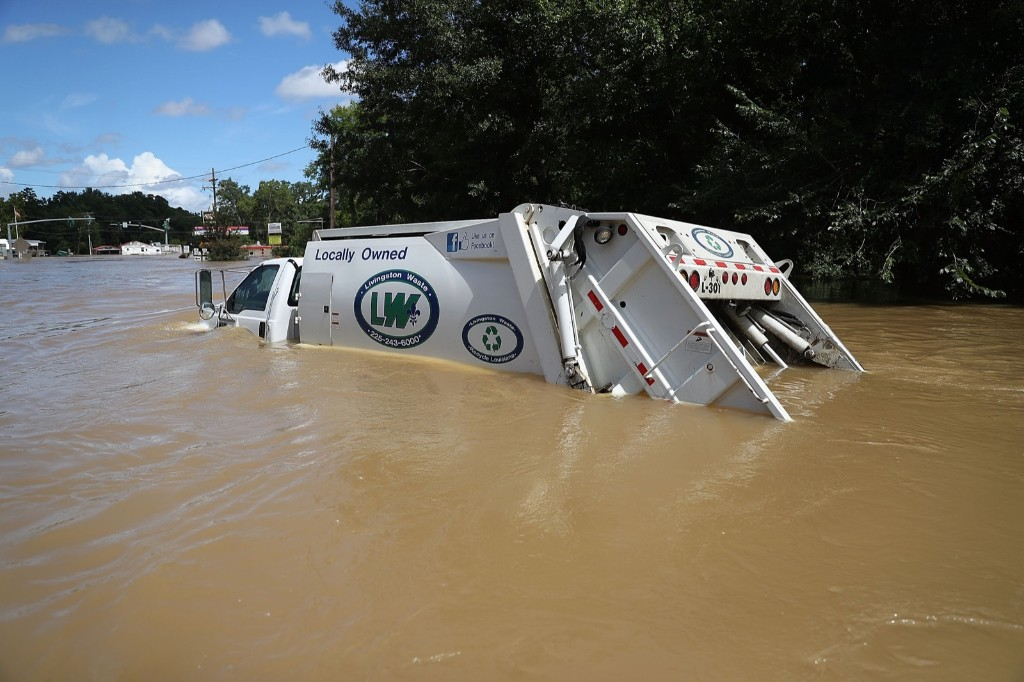 A garbage truck submerged in Port Vincent, La. Joe Raedle/Getty Images
