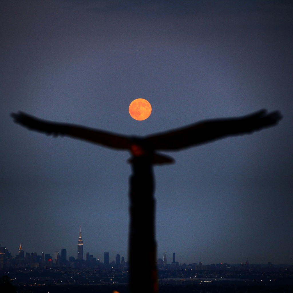 Supermoon rising above a statue of an eagle and the New York City skyline. According to NASA, the moon appears 30 percent brighter and 14 percent bigger than normal. Gary Hershorn/Flipboard
