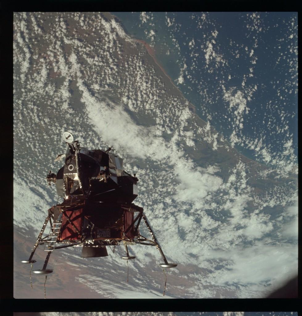 Apollo 9 Hasselblad image from film magazine 21/B - Earth orbit, LM test flight. NASA Photo