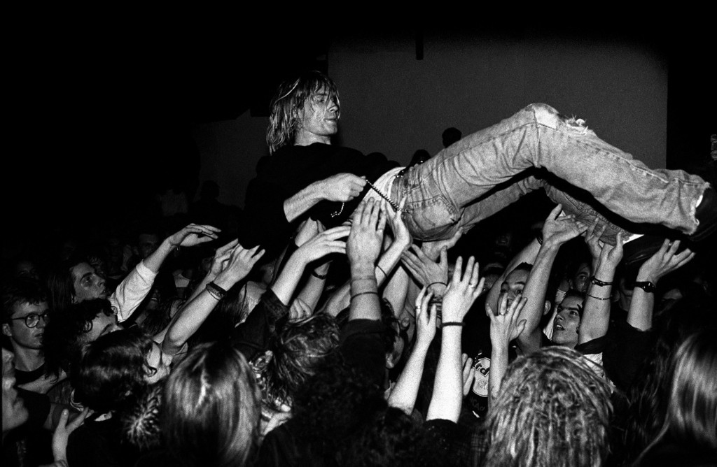 Cobain crowd surfing, Frankfurt, 1991. Paul Bergen/Getty Images