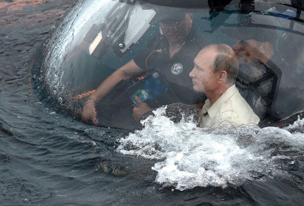 President Vladimir Putin in a bathyscaphe as it plunges into the Black sea along the coast of Sevastopol, Crimea. Alexei Nikolsky/RIA-Novosti/Kremlin Pool Photo via AP