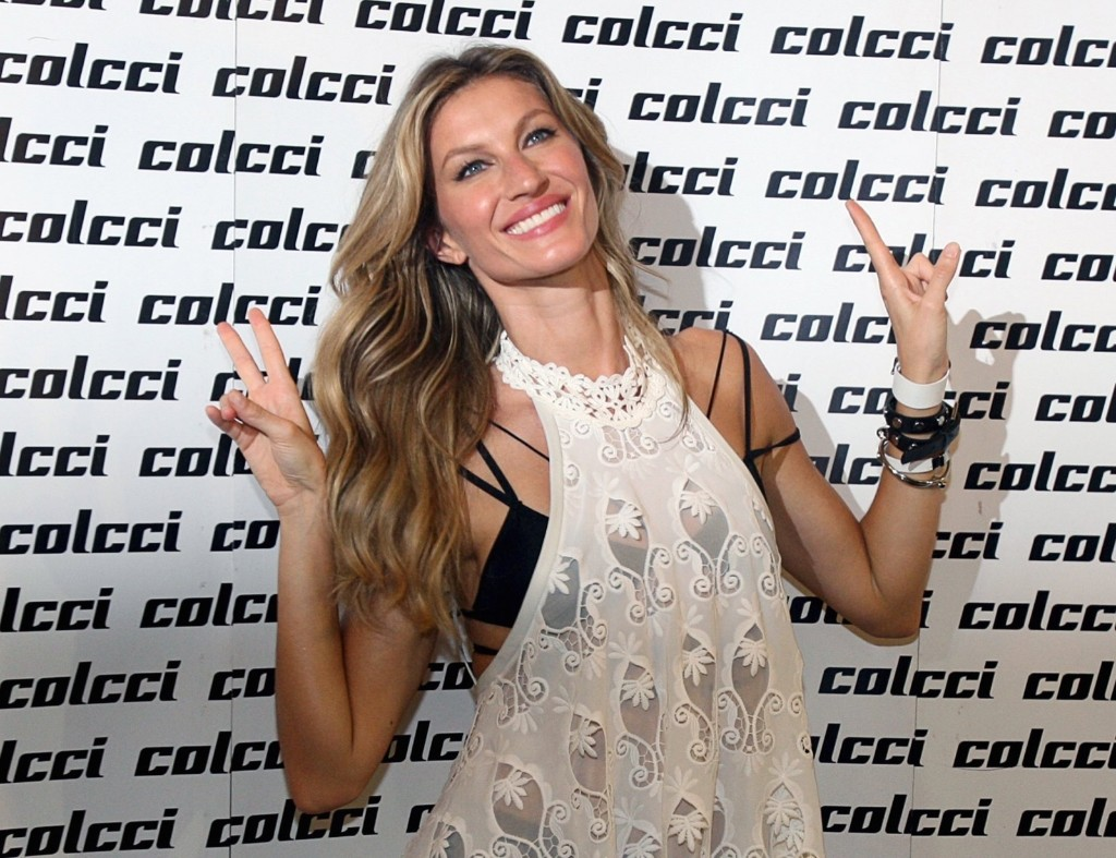 Gisele Bundchen before the showcase of the Colcci Summer 2016 Ready To Wear collection during Sao Paulo Fashion Week, Wednesday. REUTERS/Jose Patricio