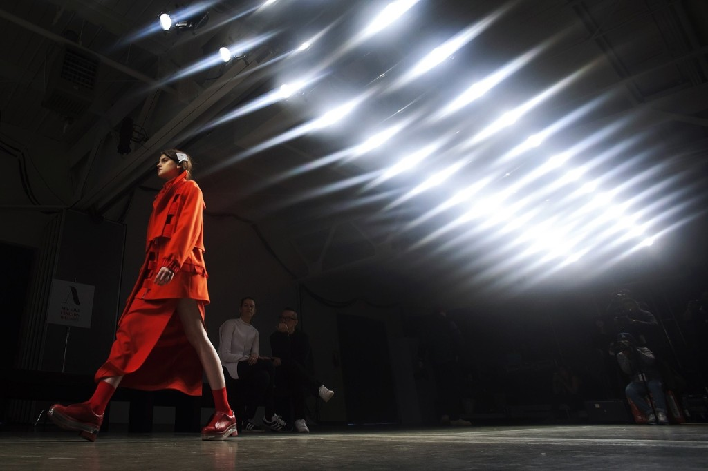 A model takes part in a walk through before the Kaal E. Suktae Fall/Winter 2015 collection show during Fashion Week in New York, Thursday. REUTERS/Carlo Allegri