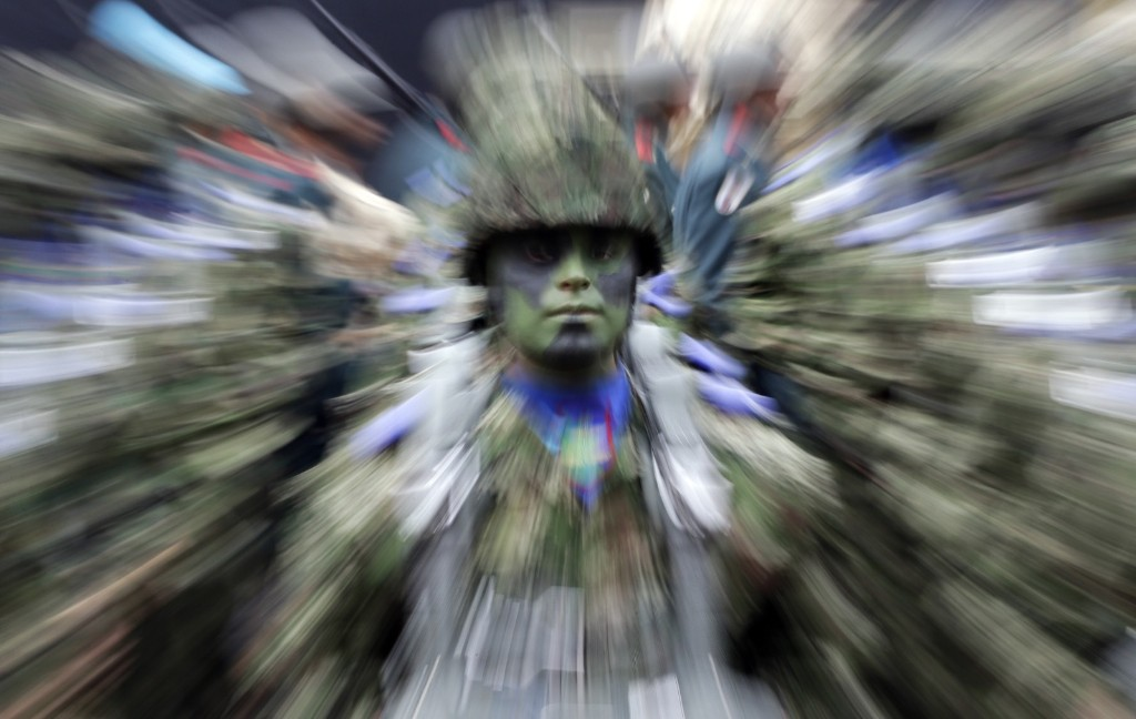 A Colombian soldier stands in formation during a military parade in Bogota. AP Photo/Fernando Vergara