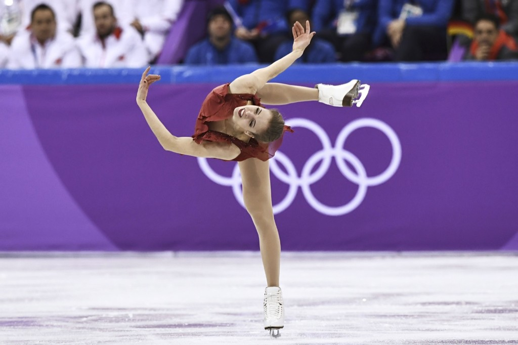 Italy's Carolina Kostner during the women's short program in the team event. ARIS MESSINIS/AFP/Getty Images