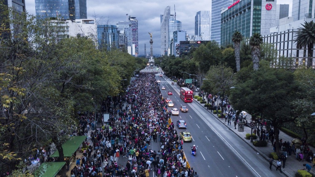 Hundreds of people attend the annual Catrinas parade, as part of Day of the Dead celebrations in Mexico City. AP Photo/Christian Palma