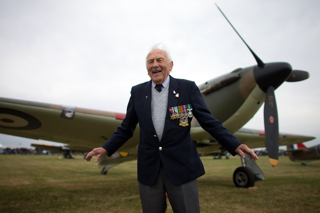 Tony Pickering, who served as a Hurricane pilot in the World War Two, next to a Hurricane, Tuesday, in Biggin Hill, England. Carl Court/Getty Images