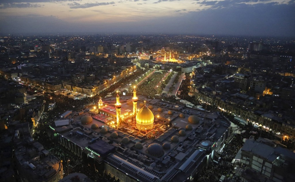 The Shrines of Imam al-Abbas and Imam al-Hussein during the commemoration of Arbain in Kerbala. REUTERS/Abdul-Zahra