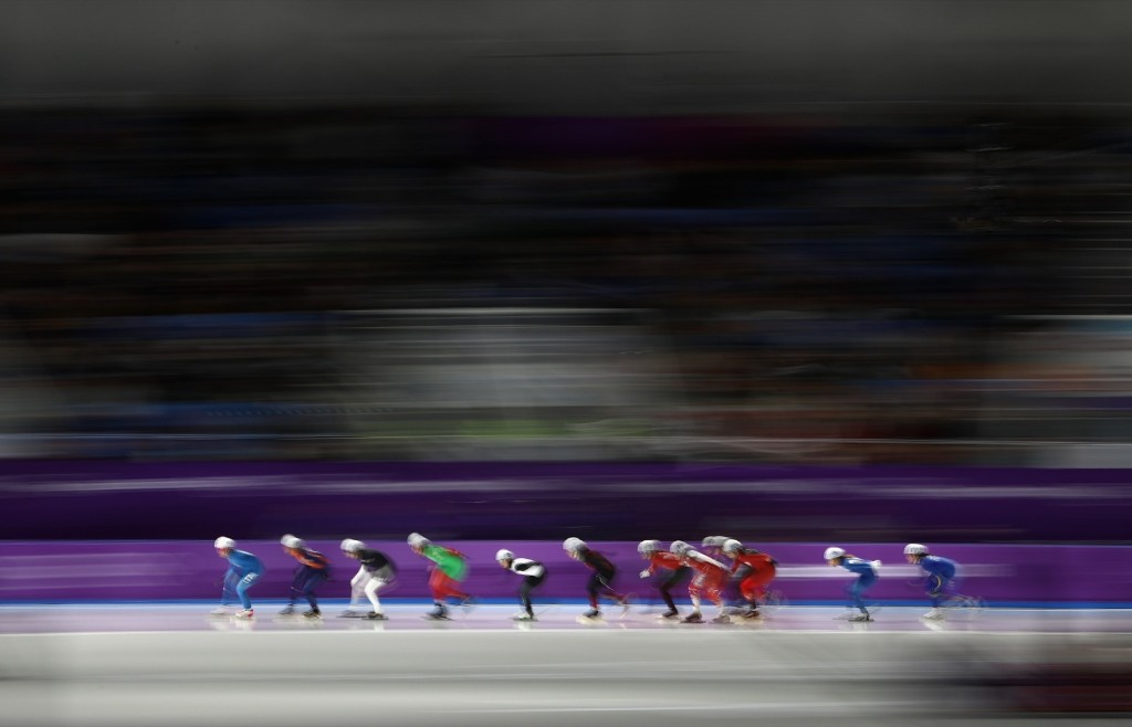 The women's mass start speed skating semifinal. Robert Cianflone/Getty Images