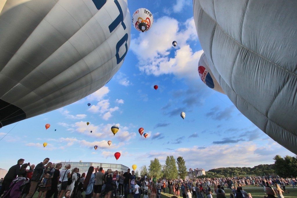 Hot-air balloons prepare to fly over Kaunas, Lithuania during the International 100 Hot Air Balloon Fiesta Wind of Freedom. PETRAS MALUKAS/AFP/Getty Images