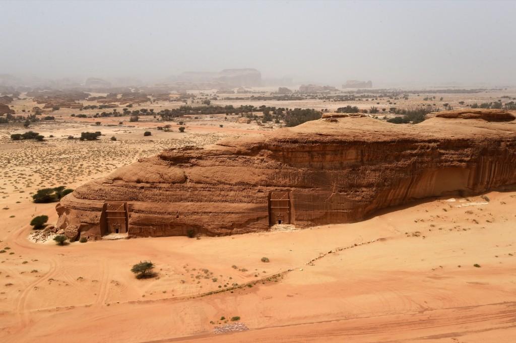 Tombs carved in rose-colored sandstone in Madain Saleh. FAYEZ NURELDINE/AFP/Getty Images