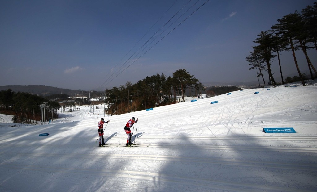 Cross country athletes train at the Alpensia Cross-Country Skiing Centre. REUTERS/Carlos Barria