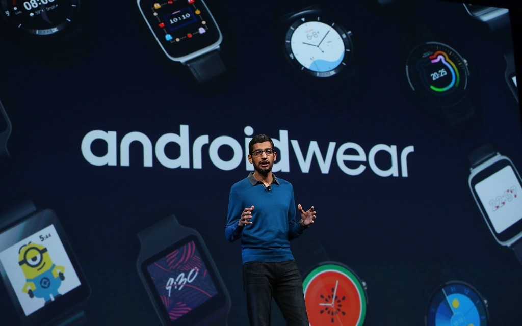Google senior vice president of product Sundar Pichai delivers the keynote address during the 2015 Google I/O conference, Thursday, in San Francisco. Justin Sullivan/Getty Images