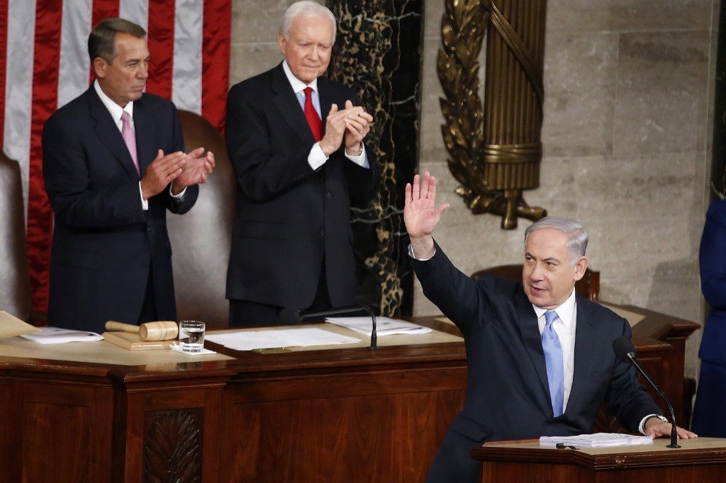 Israeli Prime Minister Benjamin Netanyahu prior to speaking before a joint meeting of Congress on Capitol Hill in Washington, Tuesday. AP Photo/Andrew Harnik
