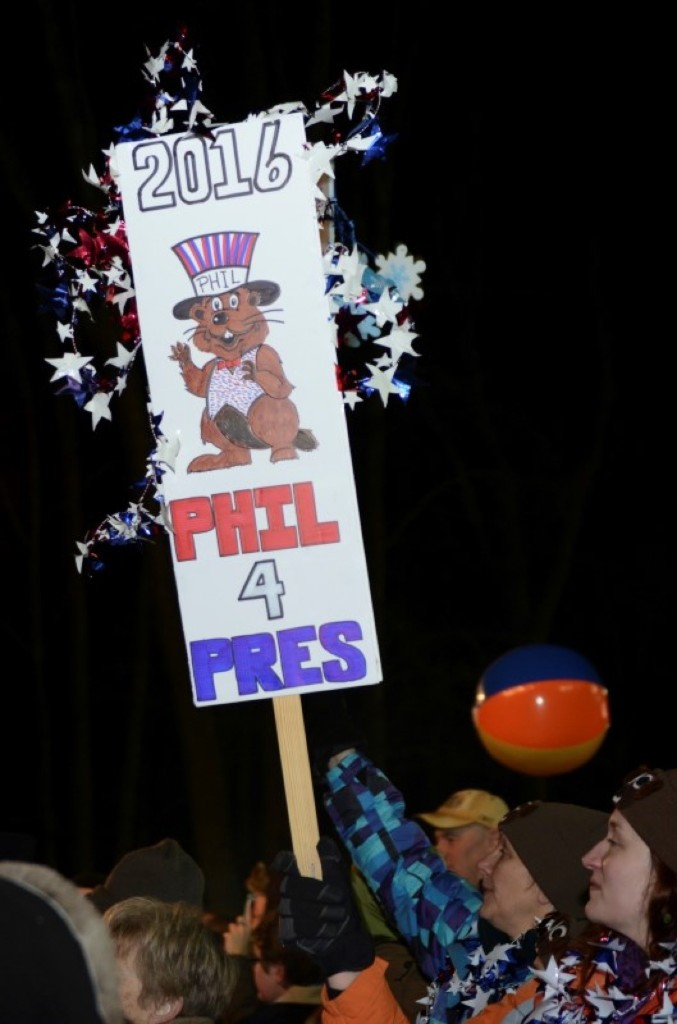 Fans of Punxsutawney Phil show their support. REUTERS/Alan Freed
