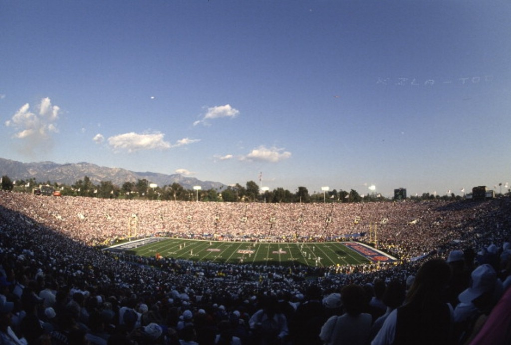 View of the Rose Bowl prior to the start of Super Bowl XXVII between the Cowboys and Bills, Jan. 1993. The Cowboys won, 52-17. Focus on Sport/Getty Images