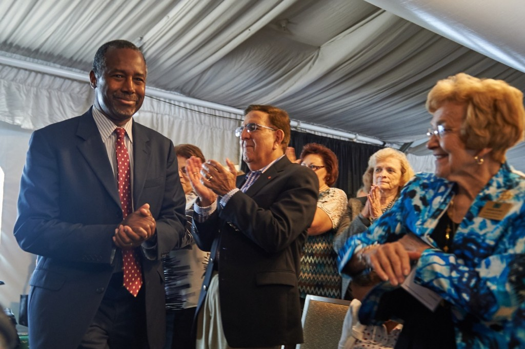 Ben Carson is introduced to the crowd during the Eagle Forum's Eagle Council Event in St. Louis. Michael B. Thomas/Getty Images