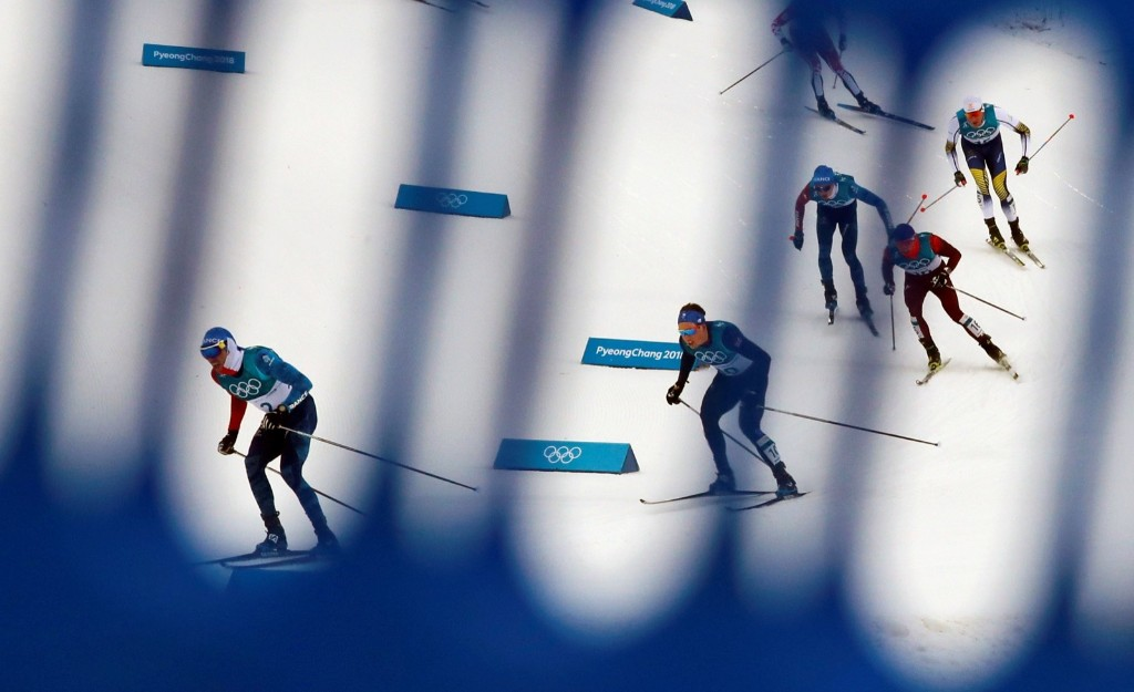 Maurice Manificat of France leads during the men's 15km + 15km skiathlon. REUTERS/Carlos Barria
