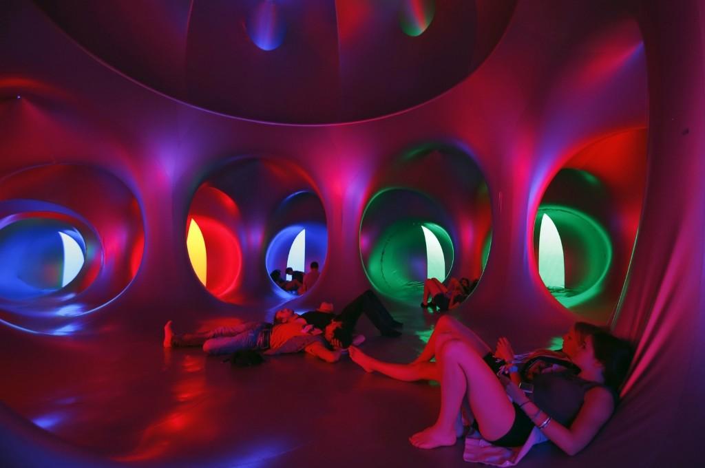 Revellers relax inside a 3-D Luminarium inflatable installation by British designer Alain Parkinson during Budapest's Sziget music festival. REUTERS/Laszlo Balogh