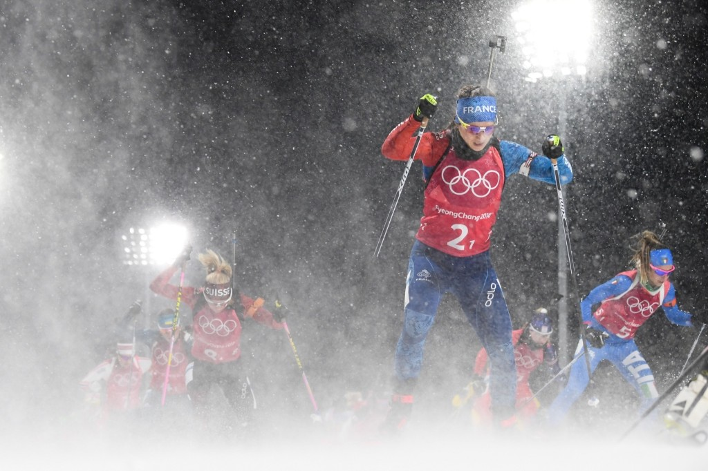 France's Anais Chevalier competes in the women's 4x6km biathlon event. JONATHAN NACKSTRAND/AFP/Getty Images