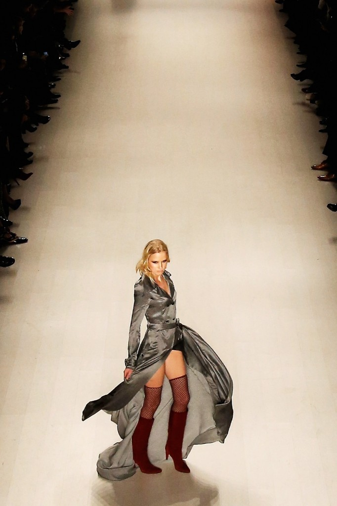 A model walks the runway while presenting the Mark and Estel Fall/Winter 2015 collection during New York Fashion Week, Thursday. (Photo by Larry Busacca/Getty Images for Mercedes-Benz Fashion Week)