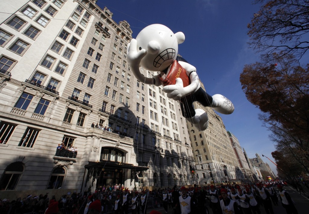 The Diary of a Wimpy Kid balloon floats down Central Park West in the Macy's Thanksgiving Day Parade in New York, Thursday. Photo by Gary Hershorn