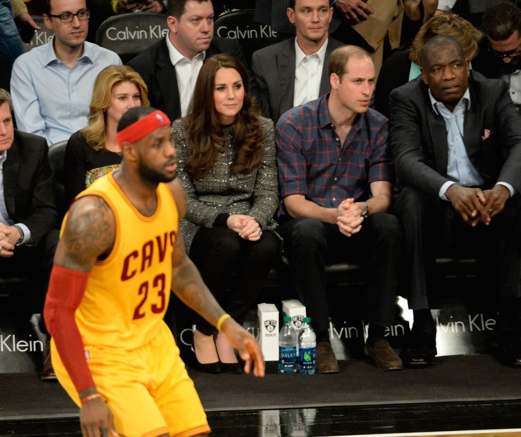 Prince William, Duke of Cambridge and Kate, Duchess of Cambridge watch Lebron James and the Cleveland Cavaliers play the Brooklyn Nets in an NBA game in New York, Monday. Robert Deutsch/USA TODAY Sports