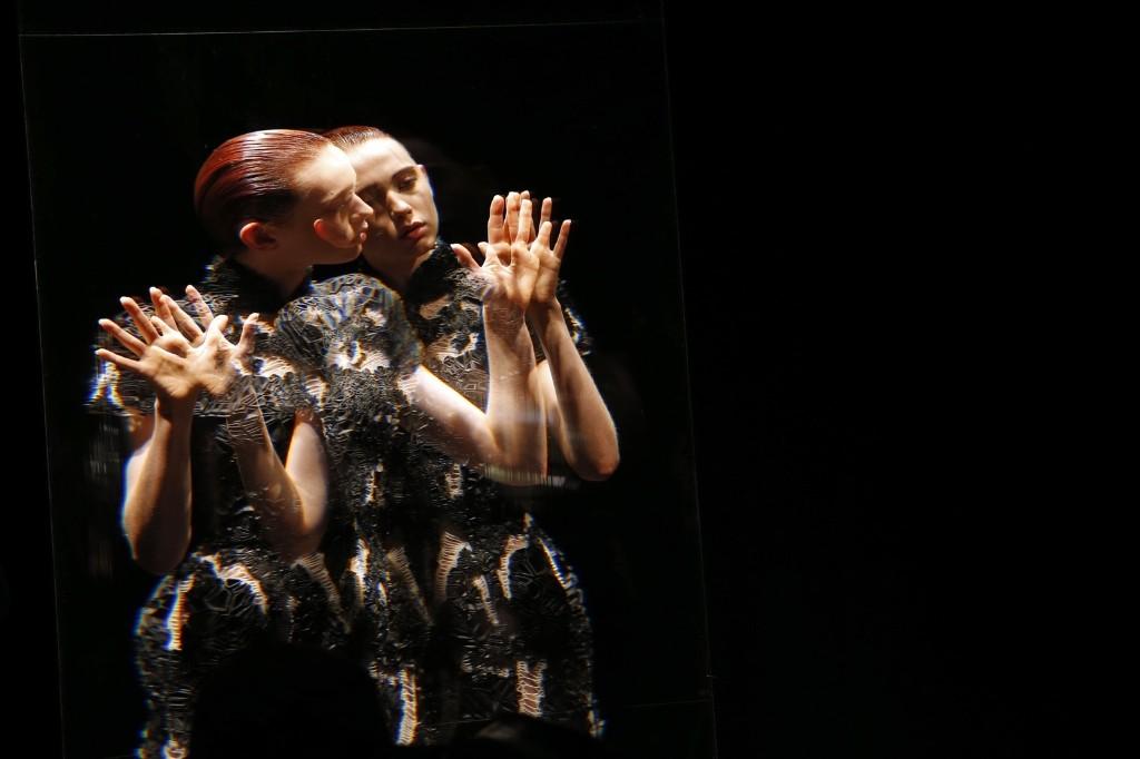 A model presents a creation by designer Iris van Herpen as part of her Fall/Winter 2016/2017 women's ready-to-wear show in Paris. REUTERS/Benoit Tessier