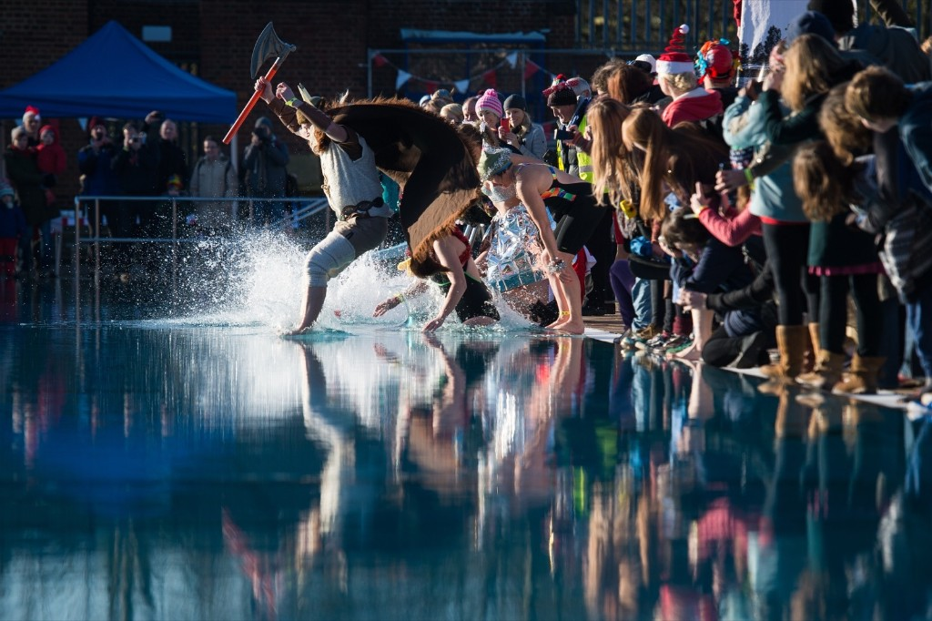 """The Outdoor Swimming Society's annual """"December Dip"""" at Parliament Hill in north London. LEON NEAL/AFP/Getty Images"""