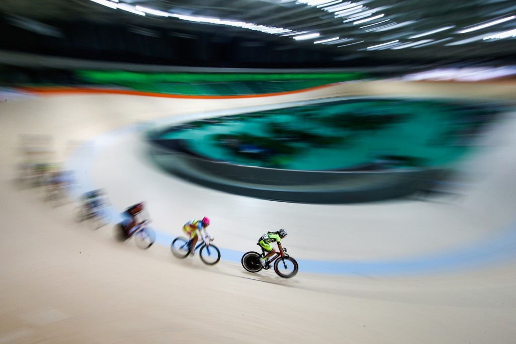 Cyclists train at the Olympic Velodrome in Olympic Park in Rio. Buda Mendes/Getty Images