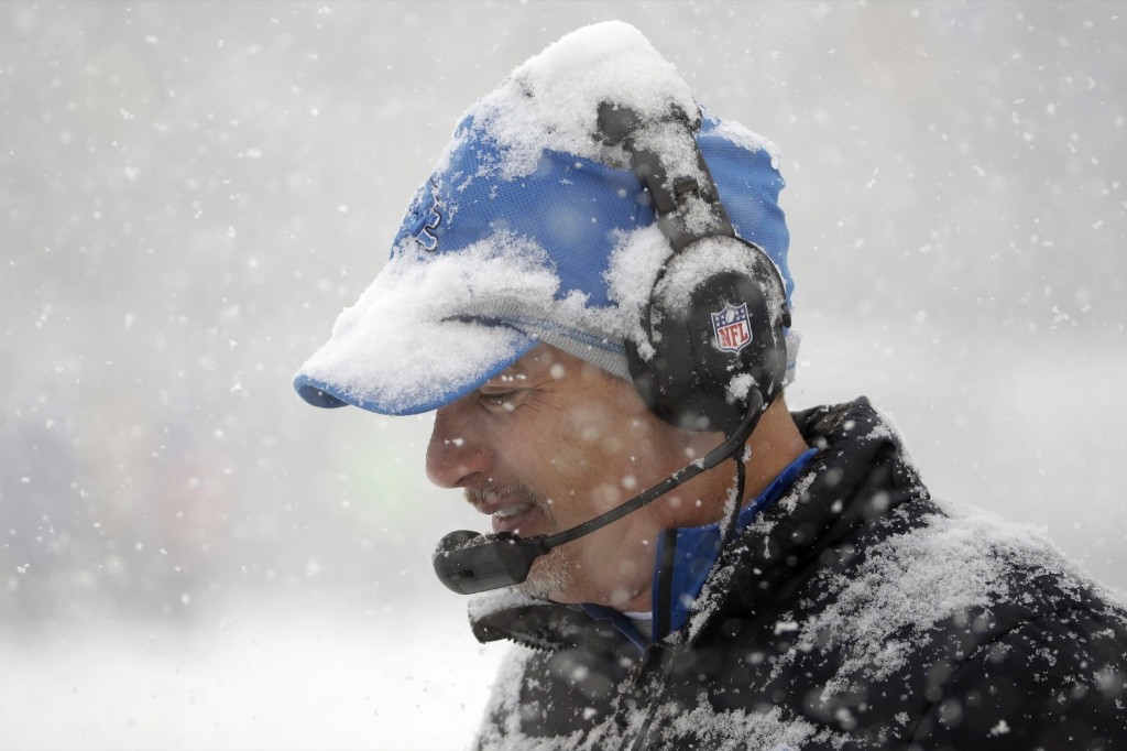 Lions head coach Jim Schwartz playing the role of Frosty in Philly Sunday. AP Photo/Matt Rourke