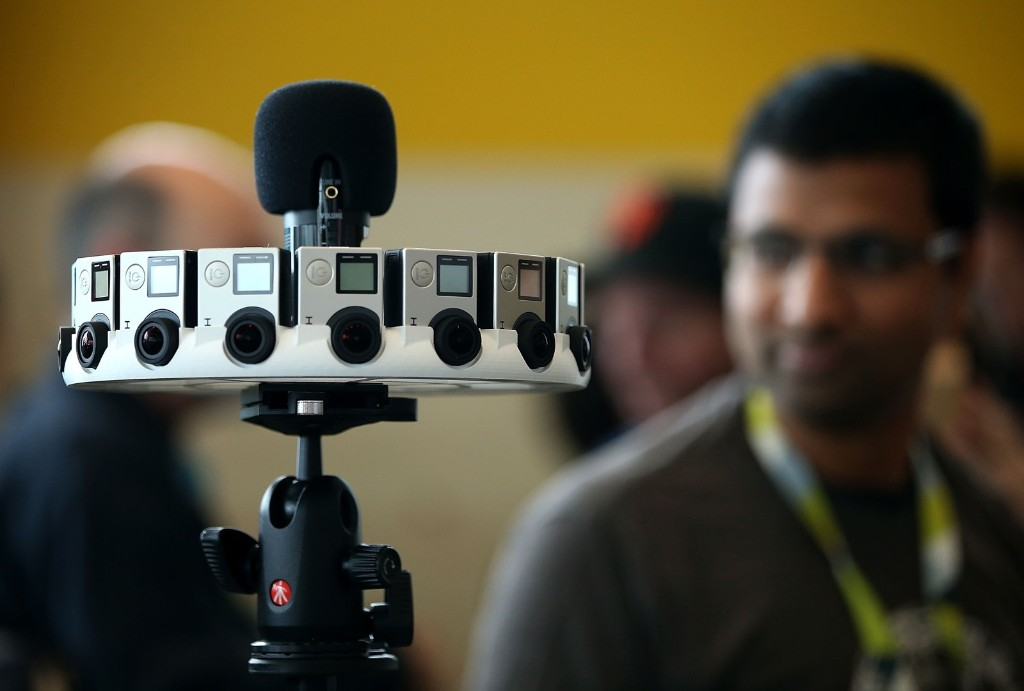 A rig holds 16 GoPro cameras designed for Google Jump during the 2015 Google I/O conference, Thursday, in San Francisco. Justin Sullivan/Getty Images