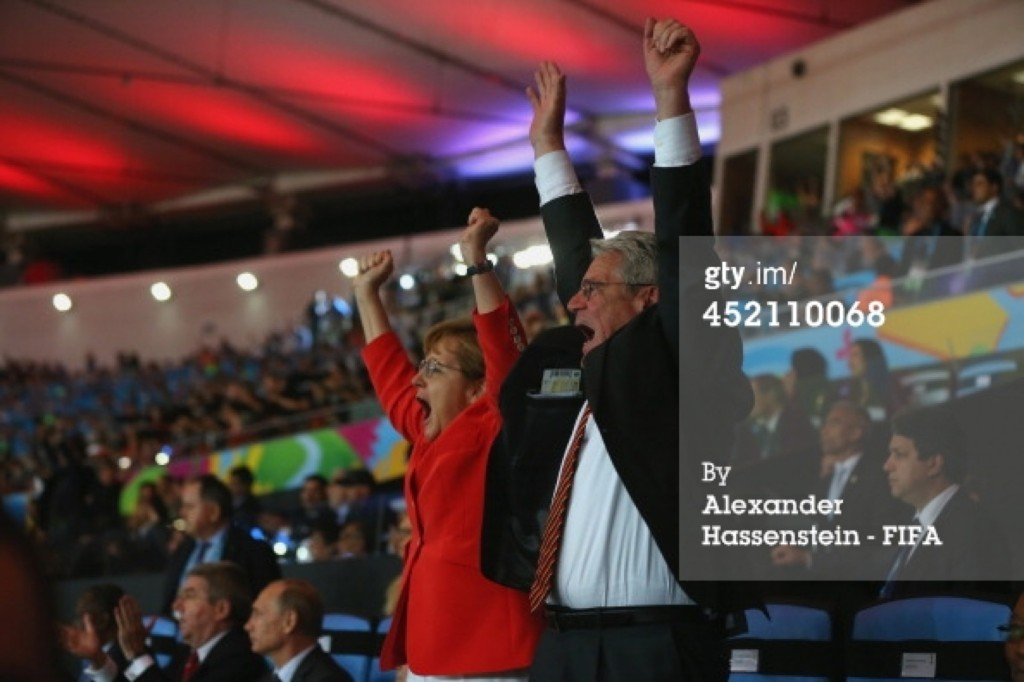German Chancellor Angela Merkel celebrates Germany's goal with German President Joachim Gauck. Alexander Hassenstein/FIFA/Getty Images