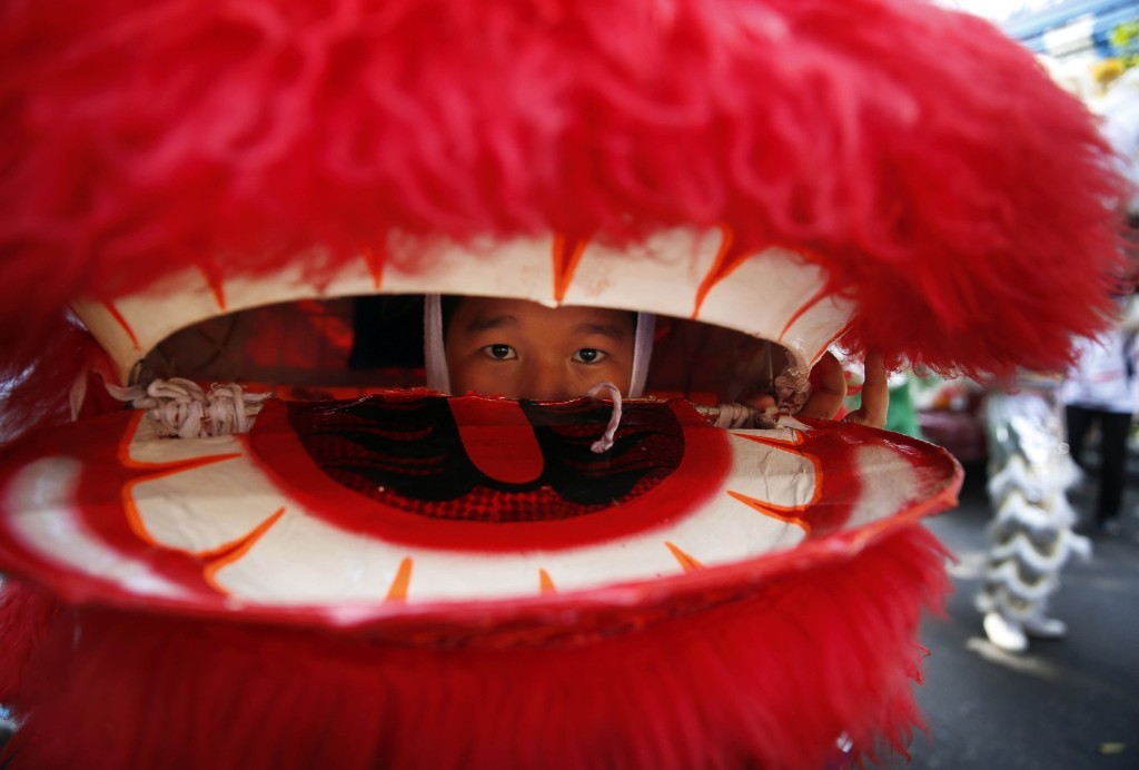 A Thai school boy looks from inside his dragon during a procession to mark King Bhumibol Adulyadej's 86th birthday, in Bangkok, Thursday. AP Photo /Manish Swarup