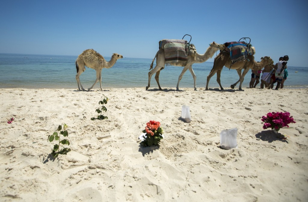 Bouquets of flowers at the Imperial Marhaba resort which was attacked by a gunman in Sousse, Tunisia. REUTERS/Zohra Bensemra