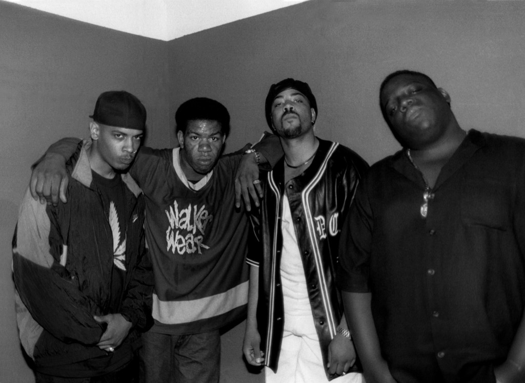 Rappers Saafir, Craig Mack, The D.O.C. and Notorious B.I.G. backstage after their performances at the Riviera Theater in Chicago, 1994. Raymond Boyd/Michael Ochs Archives/Getty Images
