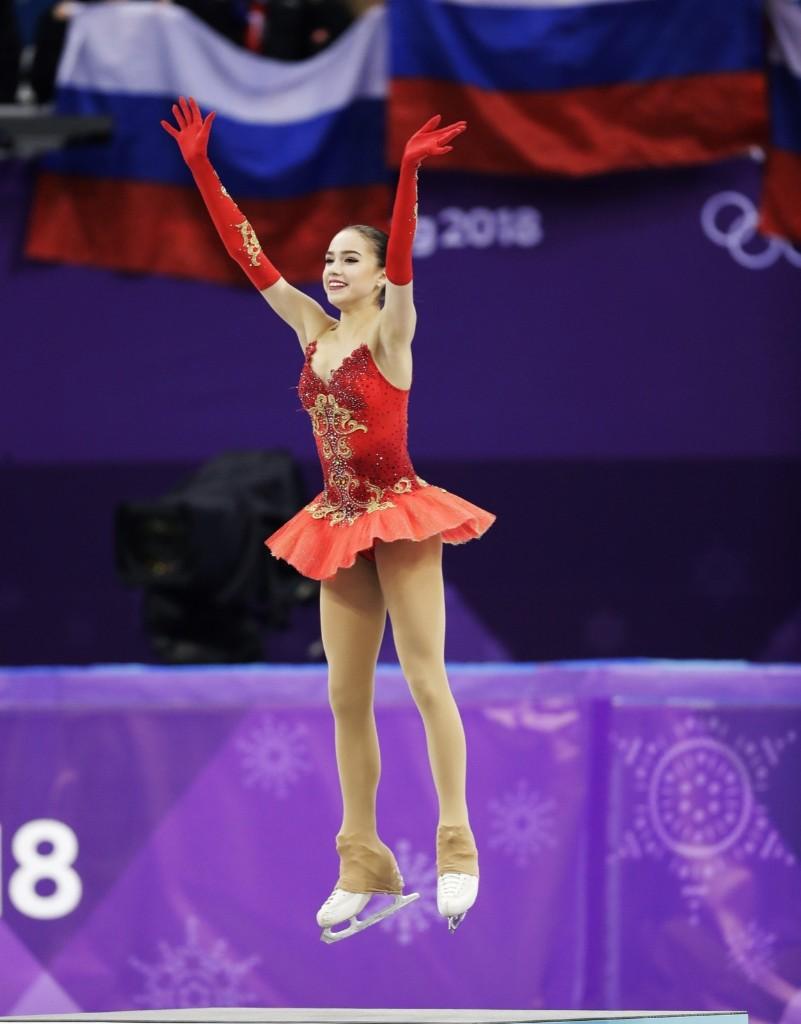 Alina Zagitova of the Olympic Athletes of Russia celebrates on the podium after winning the gold medal. AP Photo/Bernat Armangue