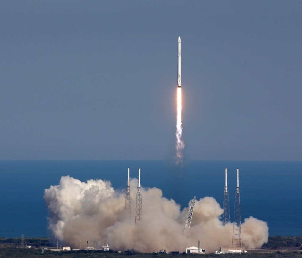 The SpaceX Falcon 9 rocket lifts off from launch complex 40 at the Kennedy Space Center. The rocket will deliver almost 7,000 pounds of science research, crew supplies, and hardware to the International Space Station. AP Photo/John Raoux
