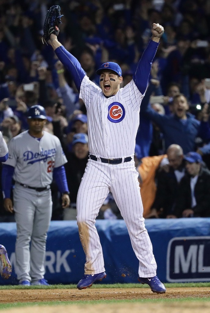 Anthony Rizzo, the Cubs first baseman, after double play ended Game 6 against the Dodgers. Jonathan Daniel/Getty Images