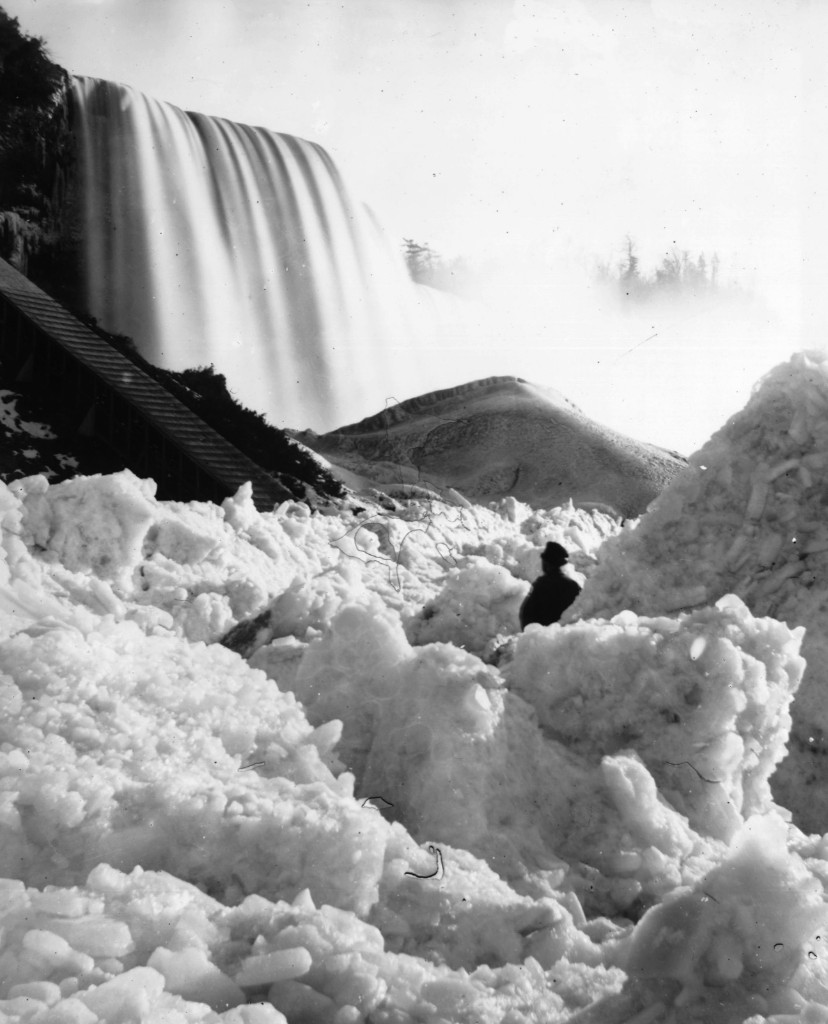 Icebergs at the base of the American or Rainbow Falls, the section of Niagara Falls which lies in New York State, circa 1859. William England/London Stereoscopic Company/Getty Images