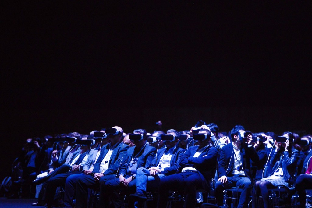 People use Samsung Gear VR during the presentation of the new Samsung Galaxy S7 and Samsung Galaxy S7 edge at the Mobile World Congress in Barcelona. David Ramos/Getty Images