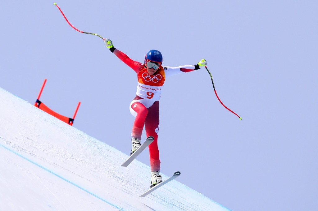 Lara Gut of Switzerland about to crash out of the women's downhill. Alexander Hassenstein/Getty Images