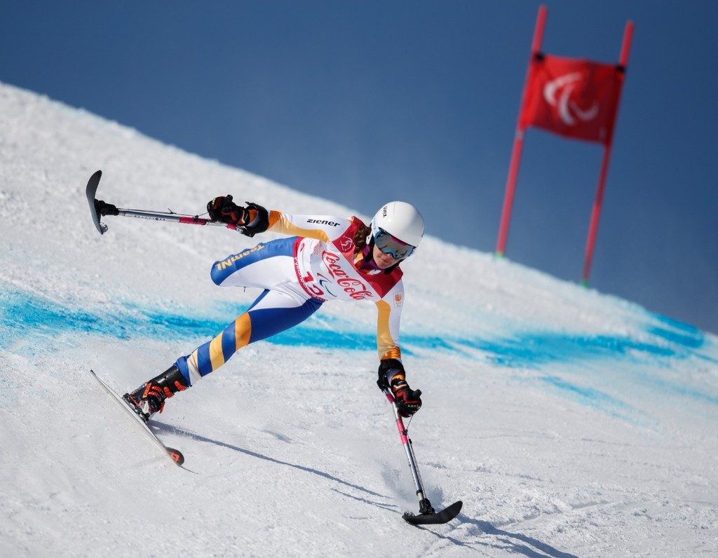 Anna Jochemsen of the Netherlands competes in the Standing Women's Super-G in Alpine Skiing at the Jeongseon Alpine Centre. Simon Bruty for OIS/IOC