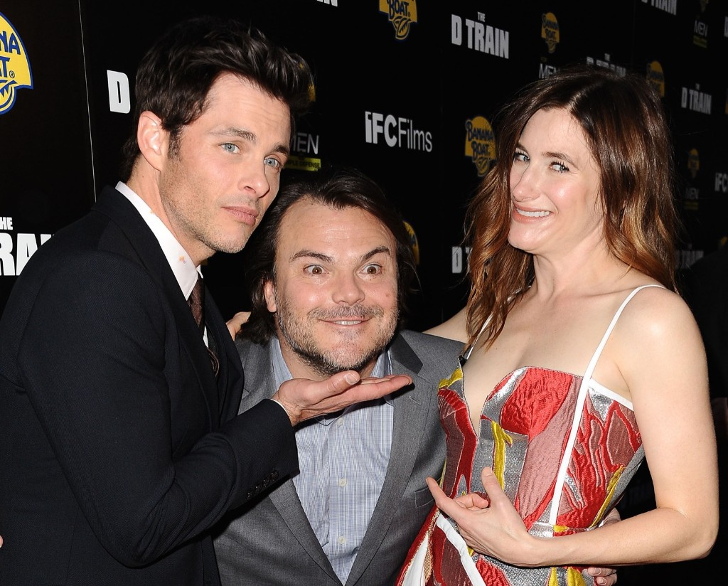 "James Marsden, Jack Black and Kathryn Hahn attend the premiere of ""The D Train"", April 27, in Hollywood. Jason LaVeris/FilmMagic/Getty Images"