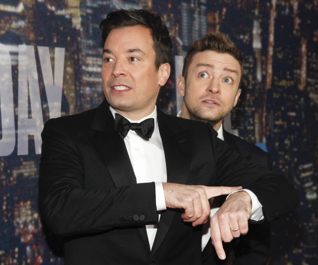 Jimmy Fallon and Justin Timberlake attend the SNL 40th Anniversary Special, Sunday, in New York. Andy Kropa/Invision/AP