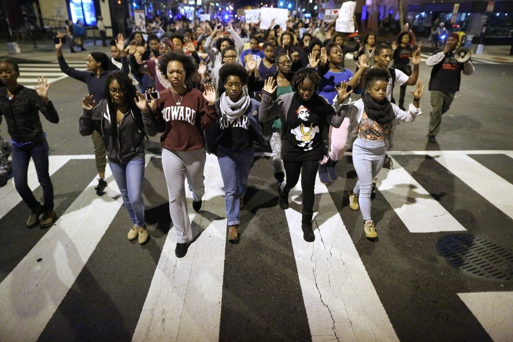 Hundreds of demonstrators, many of them Howard University students, march down the middle of U Street Northwest after grand jury decision was announced. Chip Somodevilla/Getty Images
