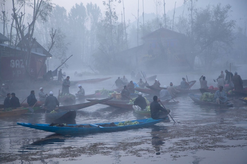 Kashmiri men sell their produce at the floating vegetable market on the Dal Lake in Srinagar. AP Photo/Dar Yasin
