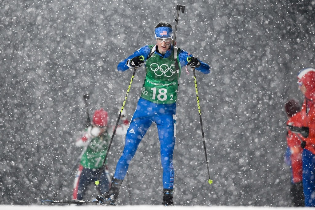 USA's Clare Egan competes in the women's 4x6km biathlon event. JONATHAN NACKSTRAND/AFP/Getty Images