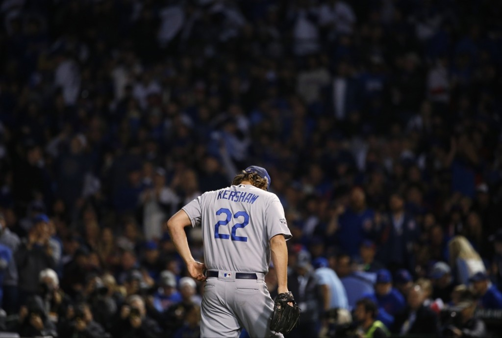 Dodgers ace Clayton Kershaw gave up five runs in five innings against the Cubs. AP Photo/Nam Y. Huh